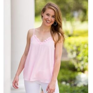 The Impeccable Pig blush pink ruffle neckline tank